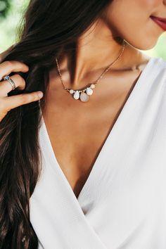 Multi Stone Short Necklace- Natural/Ivory - Dottie Couture Boutique Dottie Couture Boutique, Short Necklace, Beauty Queens, Ivory, Stone, My Style, Natural, Jewelry, Fashion