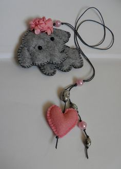 VALENTINE BOOKMARK / Felt bookmark with a grey by Marywool on Etsy, $13.00