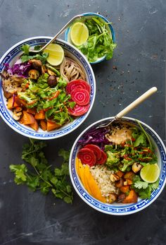 Rainbow Veggie Bowls with Peanut Sauce | Try serving this dish over Mahatma Brown Rice for a complete and tasty dinner meal.