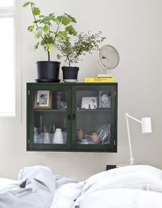 Green painted cabinet.