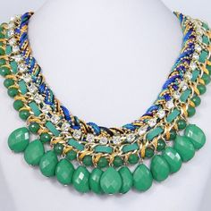 New Green Drop Bubble Statement Necklace, Beadwork Jewelry, Beaded Necklace, Swarovski Crystal Pendant Necklace w String Leather-128958996. $15.99, via Etsy.