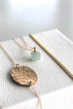 Gold Necklaces, Set of 3, Layered, Hammered Disc, Aquamarine, Tiny Ball Chain, 14K gold filled, Disc Necklace, Tag Necklace, Aqua Gold White by maldemer on Etsy https://www.etsy.com/listing/164440737/gold-necklaces-set-of-3-layered-hammered