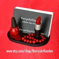 Red Lipstick, Nail Polish & Beads Polymer Clay Business Card Holder www.etsy.com/shop/KerrysArtGarden