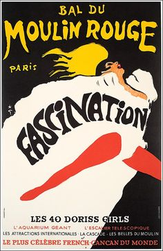 Bal du #MoulinRouge, Fascination poster manifesto #vintage #original  www.posterimage.it