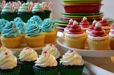 Christmas Cupcakes. Fiestaware.