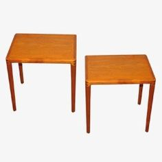 """Side tables. This set of two side tables was manufactured by Bramin in Denmark during the 1960s. Attributed to H. W. Klein, the tables are made from teak and have been stamped """"made in Denmark"""". The set is in a very good vintage condition, Danmark"""