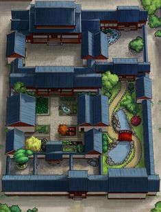 Chinese Courtyard House (Siheyuan) [32x42] : dndmaps Minecraft Designs, Minecraft Houses, Japanese Architecture, Architecture Design, Exterior Design, Interior And Exterior, Chinese Courtyard, Sims 4 House Design, Sims House Plans