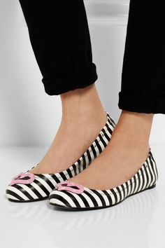 miami stripe leather flats for chic sidewalk frolicking