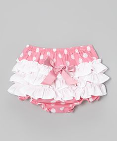 Take a look at this Pink & White Polka Dot Ruffle Diaper Cover - Infant & Toddler on zulily today!