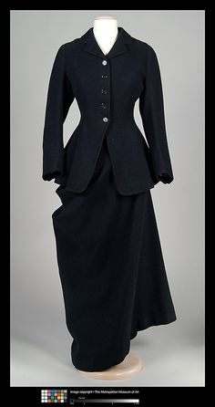Riding Habit.  1909.  This suit, made by British maker, W. Volker, is an example of the side-saddle habits which women generally wore for riding until the 1930s, when it became more acceptable for them to ride astride.