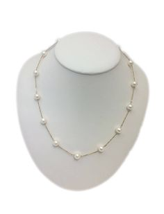 """Station Necklace """"Tin Cup """" 14Kt. Solid Yellow Gold with Fresh Water Cultured Pearls 7.5-8mm, 17"""" by ClarielDesigns on Etsy"""