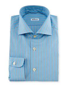 Alternating Wide-Striped Dress Shirt, Aqua (Blue) - Kiton