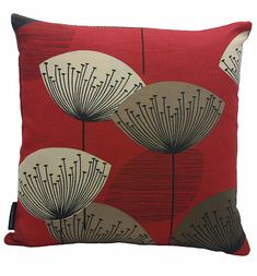 Sanderson Dandelion Clocks Cushion Red DOPNDA201 46cm x 46cm