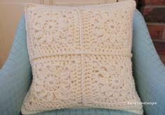 CREAM CHUNKY WOOL Crochet pillow, cream wool cushion, cream cushion, Granny squares cushion, By Kerry Jayne Designs, cosy wool, lovely gift