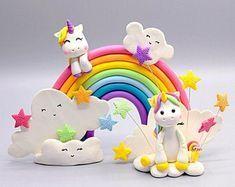 Unicorn Cake Design, Unicorn Cake Topper, Unicorn Cakes, Unicorn Rainbow Cake, Baby 1st Birthday, Rainbow Birthday, Polymer Clay Cake, Woodland Cake, Zucchini Cake