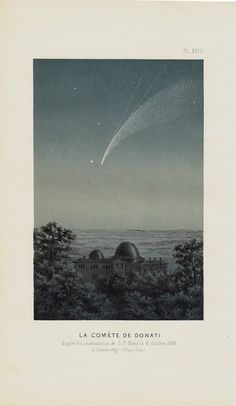 1870 Antique ASTRONOMY print Comet Donati by TwoCatsAntiquePrints