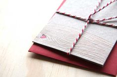 Valentine's day Letterpress heart & xoxo love notelet cards: - kiss, hug, with faux bois - wood grain detail x4 - made in Australia. $12.00, via Etsy.