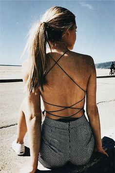 2017 Sexy Lace Up Black Bodysuit Women Bandage Sleeveless Jumpsuits Ho – rricdress Style Outfits, Summer Outfits, Cute Outfits, Beach Style, Look Star, Look Fashion, Womens Fashion, Fashion Vest, Cheap Fashion