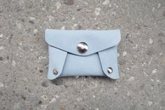 Leather wallet for creditcards, businesscards or coins, light blue, pastel blue