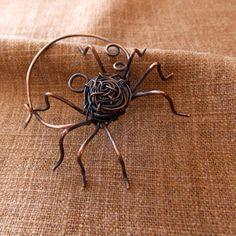 Spider Brooch. Handmade copper pin. Fibula pin. by cskingjewelry