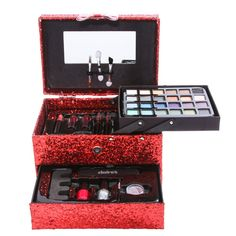 All your holiday makeup wishes come true with this red glitter train case that is filled with eyeshadows, lipsticks, nail polish, eyeliner, mascara, a lipgloss pot, lip liner, a glitter pot, a pencil sharpener, a nail file, a toe separator and a mirror.