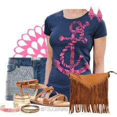 """""""Clare Tee + Gold"""" by tsjgbrand on Polyvore"""