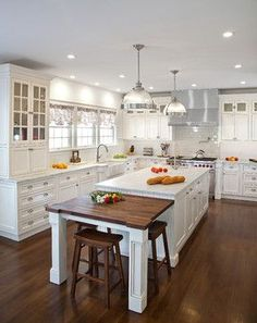 Transitional White Kitchen in NY – traditional – Kitchen – New York – Kuche+Cuci… - Kitchen - Best Kitchen Decor! Kitchen Island With Cooktop, Kitchen Countertops, Marble Countertops, Kitchen Cabinets, Kitchen Flooring, Granite Kitchen, Long Kitchen Islands, Kitchen Island With Table Attached, Narrow Kitchen Island