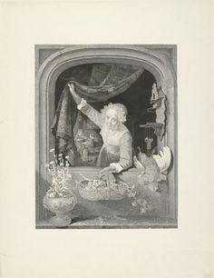 Henricus Wilhelmus Couwenberg: vrouw met mand met vruchten in de hand bij het raam. 1842. Rijksmuseum, Amsterdam. Naar Gerard Dou: Jonge vrouw met mand met vruchten in een venster. 1657