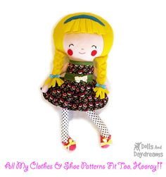 A sweet PDF sewing pattern is to make a child safe 19 (48 cm) Schoolgirl doll from cotton and felt fabrics. Shes a retro kind of girl who loves