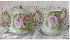 I love vintage Lefton pieces and this set is so cute with the handpainted pink roses on a gorgeous 1940's shade of green.
