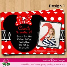 Minnie Mouse Invitation Printable Red or Pink by MaddieRoseDesignz, $10.00
