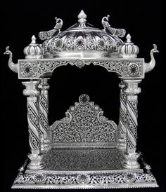 The Richness of a silver in a pooja room is ever inviting. Thermocol Craft, Temple Design For Home, Tantra Art, Silver Pooja Items, Pooja Mandir, Pooja Room Door Design, Silver Lamp, Silver Furniture, Decoration For Ganpati