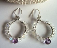 Moonstone and amethyst wire wrapped earrings by starrydreams, $40.00