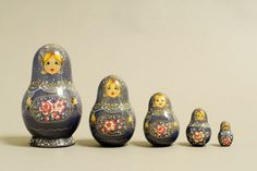"5 Piece ""Vyatskaya Matryoshka"" Flowers,  number 11587 - 611 поднос цветы"