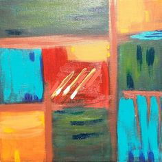"""Square of Blue by Drea Jensen  """"When you go out to paint, try to forget what objects you have before you a tree, a house, a field, or whatever. Merely think, here is a little square of blue, here an oblong of pink, here a streak of yellow, and paint it just as it looks to you, the exact colour and shape, until it gives your own naive impression of the scene before you.""""  ~Claude Monet"""