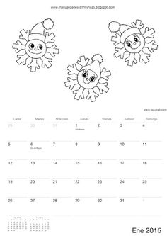 Calendario 2015 para colorear-niños de Manualidadesconmishijas Enero - january calendar