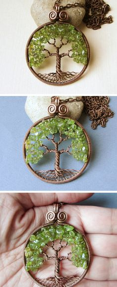 Tree-Of-Life necklace Copper Peridot olivine pendant Jewelry by MagicWire