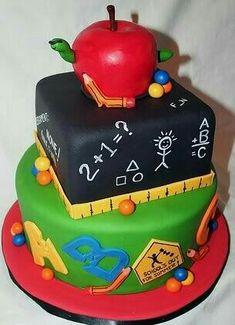 Back-To-School Cake. Love the round and square cake design. Unique Cakes, Creative Cakes, Pretty Cakes, Cute Cakes, Teacher Cakes, Cakes For Teachers, Teacher Birthday Cake, School Cake, Specialty Cakes