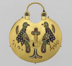 Temple Pendant with Two Birds Flanking the Tree of Life, ca. 1000–1200  Kievan Rus'; Made in Kiev, found in 1842 in or near the Desiatynna (Dormition) Church, Kiev  Cloisonné enamel on gold
