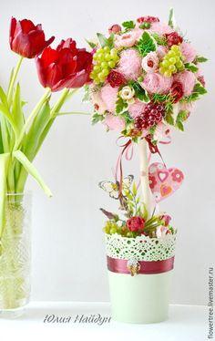 Топиарии ручной работы. Ярмарка Мастеров - ручная работа. Купить Топиарий с цветами и виноградом (цветочное дерево). Handmade. Бордовый, сизаль