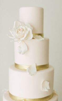 Featured Photographer: Vasia Weddings, Featured Cake: A. Elizabeth Cakes; Simply classic white and gold wedding cake
