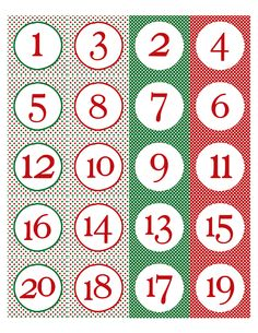 Color me happy! Free printable advent numbers. Can punch out circles or cut with scalloped scissors to make them circle or square. Print in black and white for NYE wine glass tags!