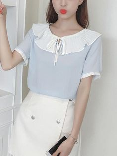 #AdoreWe #Fashionmia Fashionmia Tie Collar Contrast Trim Flounce Blouses - AdoreWe.com Cheap Blouses, Shirt Blouses, Blouses For Women, Sewing Alterations, Blouse Online, Blouse Styles, Ruffle Blouse, Style Inspiration, Shoulder Length
