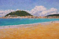 cuadro de la playa de la Concha en San Sebastián