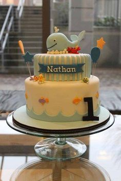 Birthday Cake House & Garden grey gardens house before and after Whale Birthday Parties, Boys 1st Birthday Cake, First Birthday Decorations, 1 Year Old Birthday Cake, Whale Cakes, Ocean Cakes, Nautical Cake, Cakes For Boys, Cake Creations