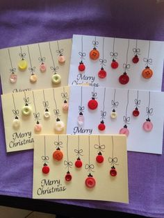 DIY Christmas Cards: the most beautiful and original ideas- DIY Weihnachtskarten… – Christmas DIY Holiday Cards Christmas Card Crafts, Homemade Christmas Cards, Homemade Cards, Handmade Christmas, Holiday Crafts, Christmas Holidays, Christmas Decorations, Christmas Ornaments, Button Ornaments