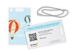Dynotag® Web/GPS enabled QR Smart Fashion Luggage Tags - 2 Identical Tags+Chains (Up!)