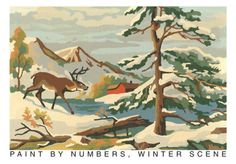 Winter Mountain Scene with Deer Buck Paint by Number Painting Mid Century