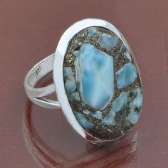 925 STERLING SILVER AMAZING COMPOSED LARIMAR FANCY RING 6.37g DJR5457 #Handmade #Ring