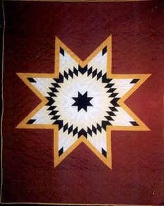 eight pointed star | Taught By Degrees Only Lone Star Quilt Pattern, Star Quilt Patterns, Star Quilts, Barn Quilt Designs, Quilting Designs, Sioux, Southwest Quilts, Dakota, Scrappy Quilts
